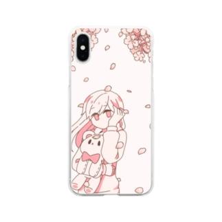 女の子とテディベア【桜】 Soft clear smartphone cases