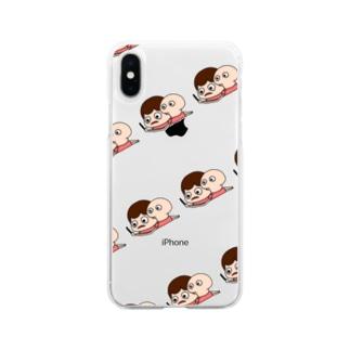 不眠症の女の子寝不足ちゃん Soft clear smartphone cases
