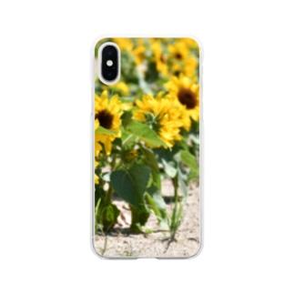 ひまわりサンフラワー Soft clear smartphone cases