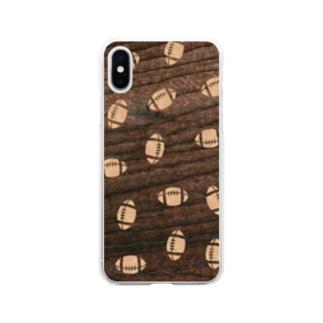 【ラグビーボール】寄木風スマホケース3017 Soft clear smartphone cases