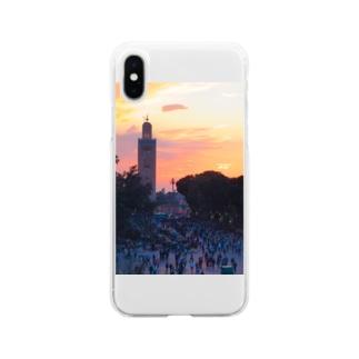 マラケシュの夕刻-モロッコ Soft clear smartphone cases