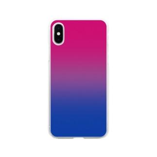グラデーション プライドフラッグ バイセクシュアル Soft clear smartphone cases