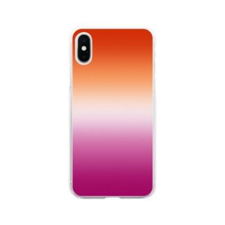 グラデーション プライドフラッグ レズビアン Soft clear smartphone cases