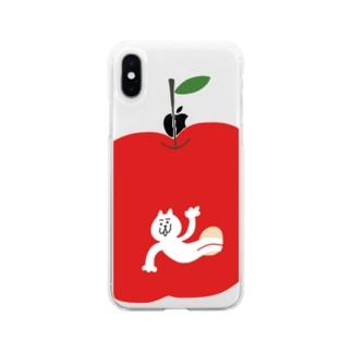 リンゴから猫 Soft clear smartphone cases