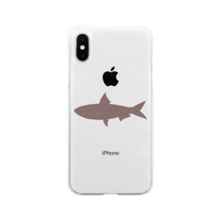真イワシ シルエット Soft clear smartphone cases