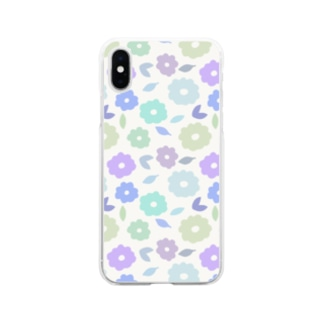 やさしくふんわか北欧のお花。 SKY/混 Soft clear smartphone cases