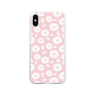 やさしくふんわか北欧のお花。 PINK/単 Soft clear smartphone cases