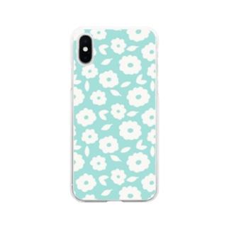 やさしくふんわか北欧のお花。 SKY/単 Soft clear smartphone cases