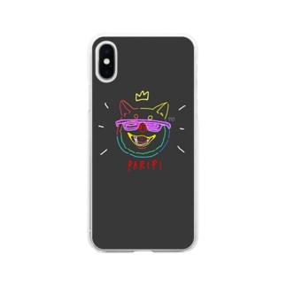 ぱりぴ柴犬 Soft clear smartphone cases