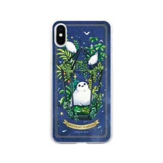 アザリウム(背景ネイビー) Soft clear smartphone cases