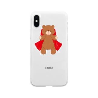 ボンくまさん 赤 Soft clear smartphone cases