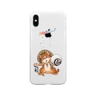 たぬきに間違われた猫 Soft clear smartphone cases