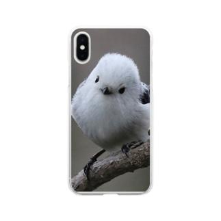 【にこらび】こんにちわシマエナガ003 Soft clear smartphone cases
