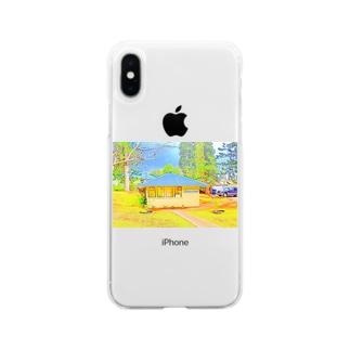ラナイ島にある小さく可愛いBank of Hawaii(イラスト) Soft clear smartphone cases