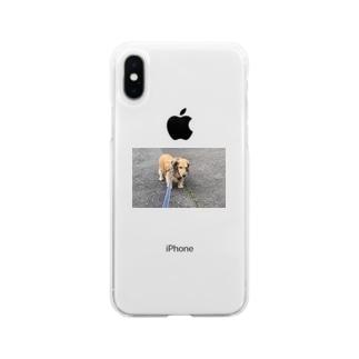 歩きたくない犬 Soft clear smartphone cases
