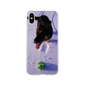 雪と玩具と犬 Soft clear smartphone cases