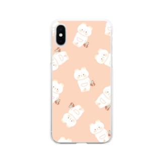くまねこちゃんパターン Soft clear smartphone cases