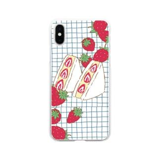 フルーツサンド いちご Soft clear smartphone cases