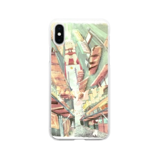 ねこのいるまち 淡 Soft clear smartphone cases