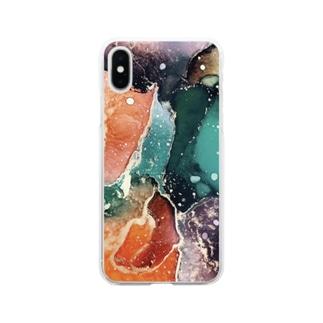 アルコールインクアート Soft clear smartphone cases