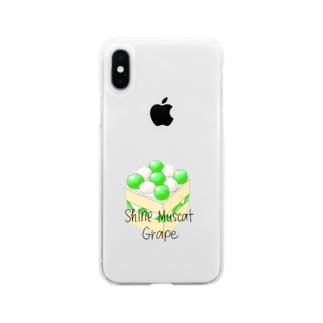 シャインマスカットのスクエアケーキ Soft clear smartphone cases