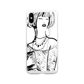 お料理猫さんのゴージャス姉さん Soft clear smartphone cases