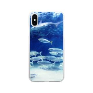 水中写真:シュモクザメと魚たち Hummer shirk & fishes Soft clear smartphone cases