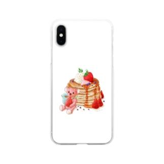 パンケーキとテディベア Soft clear smartphone cases