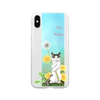 Atelier Heureuxのタンポポとサバトラ子猫② Soft clear smartphone cases