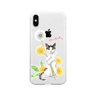 タンポポとサバトラ子猫② Soft Clear Smartphone Case