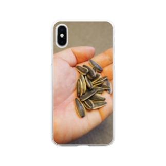 ひまわりの種どうぞ Soft clear smartphone cases