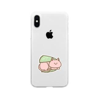 さくらもちにゃんこ Soft clear smartphone cases