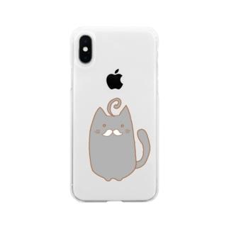 ひげねこ。(黒) Soft clear smartphone cases