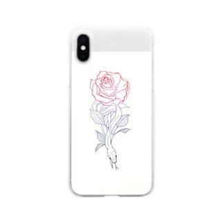 蛇と薔薇 Soft clear smartphone cases