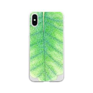 小さなトカゲが休んでいた葉っぱ Soft clear smartphone cases