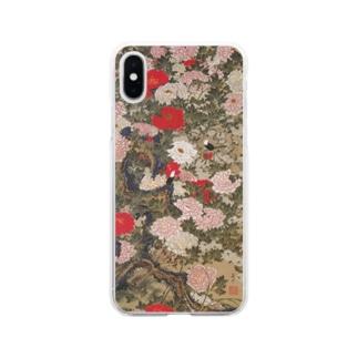 伊藤若冲《牡丹小禽図》 Soft Clear Smartphone Case