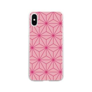 和柄 ピンク麻柄 Soft clear smartphone cases