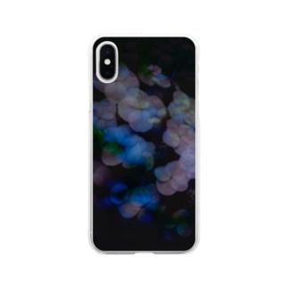 黒に浮かぶ紫陽花 Soft clear smartphone cases
