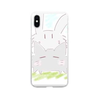トゲネコとトゲウサ Soft clear smartphone cases