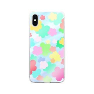 クリスタルフラワー(花柄) Soft clear smartphone cases