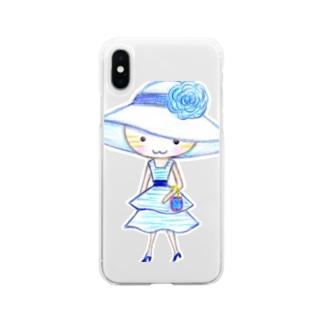 茶トラの女の子ミミ ブルーワンピ  Soft clear smartphone cases