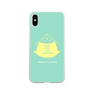 くらきち ONLINE SHOPのねこタイツ どっすん ミント Soft Clear Smartphone Case