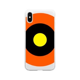 サークルa・オレンジ・黒・黄 Soft clear smartphone cases