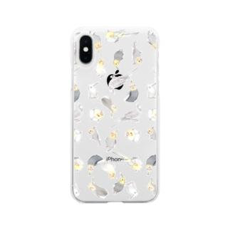 たっぷりオカメインコちゃん【まめるりはことり】 Soft clear smartphone cases