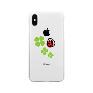 てんとう虫と四つ葉のクローバー Soft clear smartphone cases