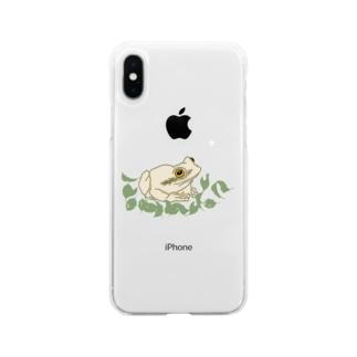 白いカエルと葉っぱ Soft clear smartphone cases