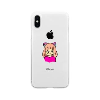 猫女の子 Soft clear smartphone cases