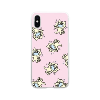 hamigaki menchi(baby pink) Soft clear smartphone cases