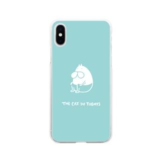 ねこタイツ おすわり グリーン Soft clear smartphone cases