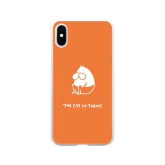 ねこタイツ おすわり オレンジ Soft clear smartphone cases